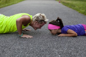 healthy woman and daughter